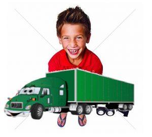 menininho segurando caminhonete